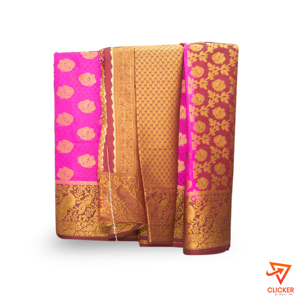 Clicker best deal PINK WITH GOLD BORDER SAREE 2158